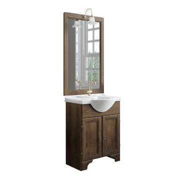 Bagno in legno noce completo di lavabo, specchiera e porta lampada