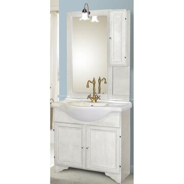 Bagno in legno decape completo di lavabo, specchiera e portalampada