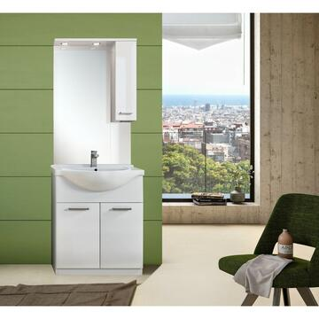 Mobile bagno 75 Bianco con lavabo e specchiera con mobiletto pensile