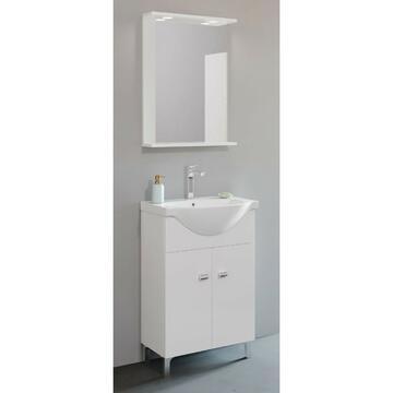 Mobile bagno 55 Bianco con lavabo e specchiera con mobiletto pensile