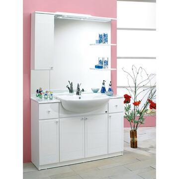 Grande bagno completo con piano porta oggetti ai lati del lavabo