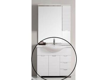 Elegante base dalle linee moderne e dalla finitura bianco lucido. Composta da 2 ante con chiusura ammortizzata,3 cassetti,lavabo consolle.