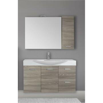 Moderna composizione sospesa dalle linee eleganti. Composta da base con 3 ante con chiusura ammortizzata,lavabo d'appoggio,specchiera con illuminazione led,pensile.