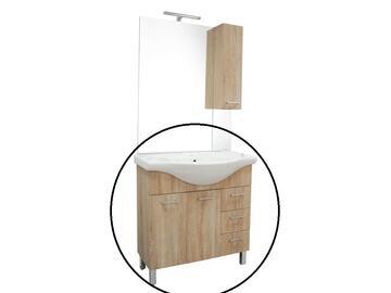 Base Gaia composta da 2 ante con chiusura ammortizzata,3 cassetti,lavabo consolle. Abbinabile alla specchiera 203drowe.