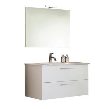 Mobile bagno Alice sospeso completo di specchiera, lavabo e lampada a led! Colore bianco lucido.