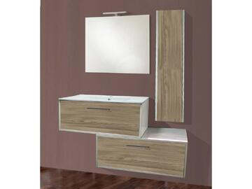 Bagno Sospeso Luna in olmo grigio completo di lavabo, specchiera e portalampada!