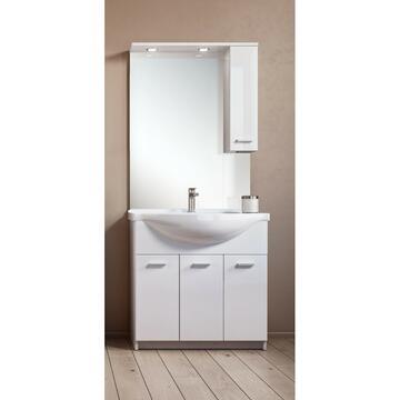 Mobile bagno 85 Bianco con lavabo e specchiera con mobiletto pensile