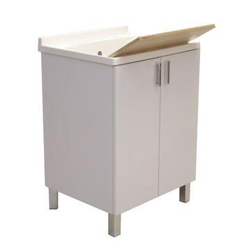 Lavatoio in resina con vassoio, di facile montaggio,perfetto per ambienti esterni. Struttura in legno e plastica, funzionale e capiente