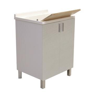 Lavatoio in resina olmo bianco di facile montaggio,perfetto per ambienti esterni. Struttura in legno e plastica, funzionale e capiente