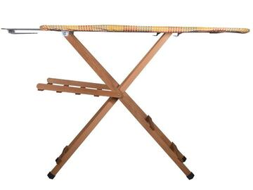 Pratico asse da stiro in legno noce, con copriasse in cotone.