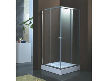 Box doccia 80x80 in alluminio cromato; piatto doccia incluso