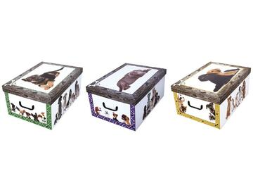Scatole portatutto in cartone, con immagini di cagnolini, 51x37x24 cm.