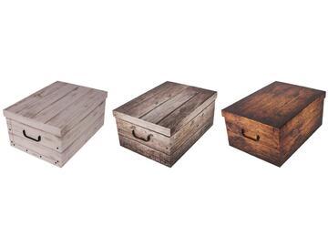 Scatole portatutto in cartone, a fantasia wood, 51x37x24 cm.