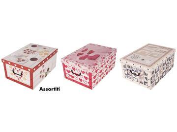 Scatole portatutto in cartone, a fantasia love, 51x37x24 cm.