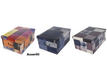 Scatole portatutto in cartone, a fantasia patchwork, 51x37x24 cm.