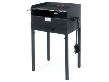Barbecue a carbonella con paletta, pinza, griglia regolabile e maniglie per il trasporto.