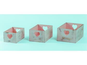Cassetta legno portatutto Heart set di 3