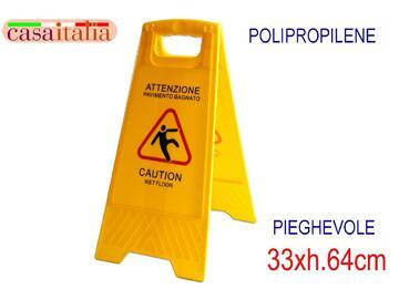 Cartello Attenzione Pieghevole giallo in polipropilene