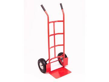 Carrello sollevatore con ruote, in acciaio verniciato, colore rosso, 2 ruote pneumatiche.