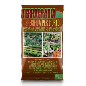 Terriccio Terragraria bio, completa e ricca di tutti gli elementi nutritivi biologici per l'orto, 50 litri.