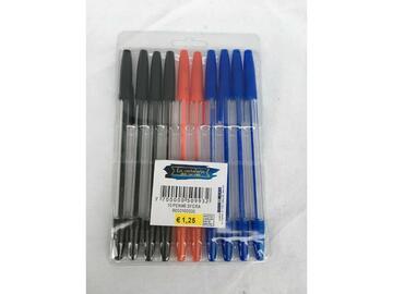 10 Penne a sfera blu / rosso / nero