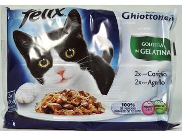 Felix Ghiott.4 buste da 100 gr. Coniglio e Agnello cibo per gatti