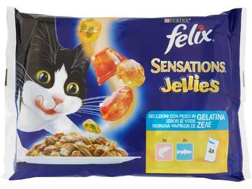 Felix Sensations 4 buste da 100 gr Salmone e Trota cibo per gatti