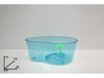 Vaschetta media per tartaruga, con piccola palma decorativa.