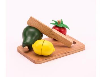 Set di frutta finta con tagliere