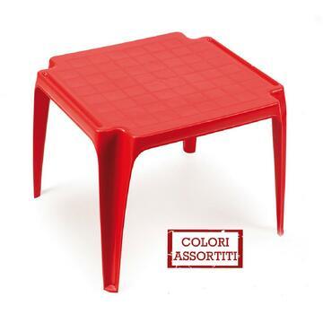 Tavolo baby in resina, ideale per l'esterno. Disponibile in vari colori assortiti.