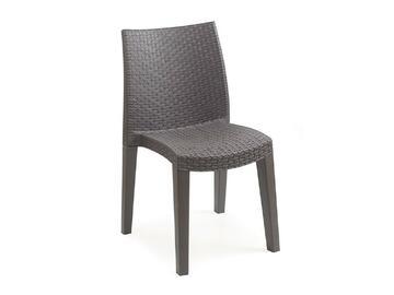 Elegante sedia in polipropilene effetto rattan. Perfetta per l'esterno, resistente agli agenti atmosferici. Ottima comodita e stabilita. Colore antracite o bianco.