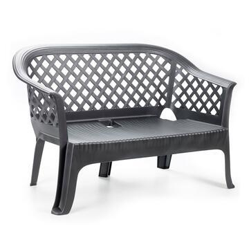 Panchina color antracite, in resina. Ideale per l'esterno.
