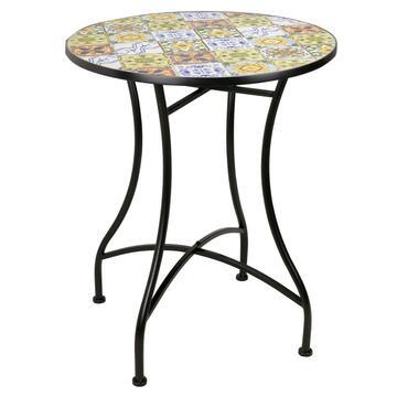 Tavolo in mosaico da esterno Sarno rotondo struttura in metallo, diametro 60
