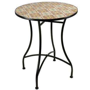Tavolo in mosaico da esterno Nepi rotondo struttura in metallo, diametro 60
