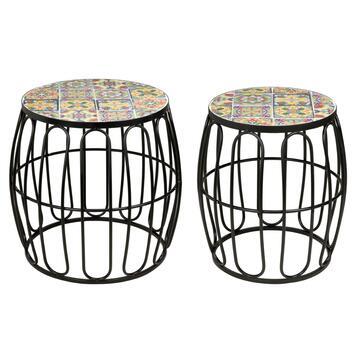 2 Tavolini in mosaico Savio struttura in metallo, diametro 40 e 30