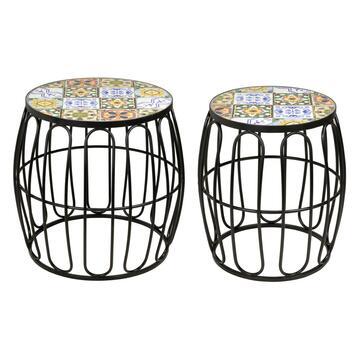 2 Tavolini in mosaico Sarno struttura in metallo, diametro 40 e 30