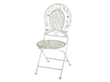 Elegante sedia pieghevole in metallo,colore bianco. Ideale per l'esterno,resistente agli agenti atmosferici. Finiture vintage,decoro floreale nello schienale. >Seduta e schienale traforati. >>