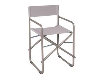 Classica sedia da regista,struttura in metallo con tessuto in PVC. Resistente agli agenti atmosferici,comodita assicurata.