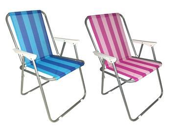 Classica sedia con struttura in metallo e seduta in tessuto. Resistente agli agenti atmosferici, comodita assicurata.