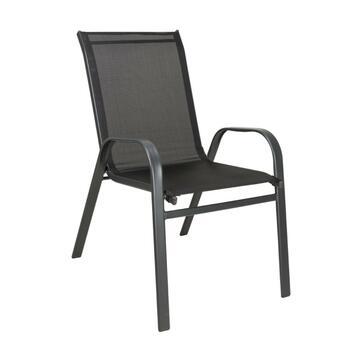 Sedia da esterno Pamplona struttura in alluminio con seduta in tela nera
