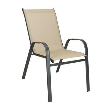 Sedia da esterno Pamplona struttura in alluminio con seduta in tela beige