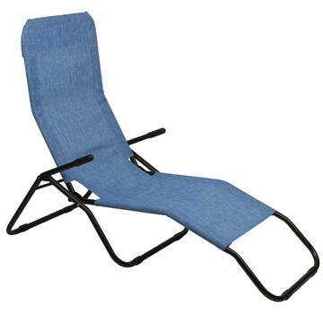 Sdraio da esterno Beach reclinabile blu cielo struttura in metallo e seduta in tela