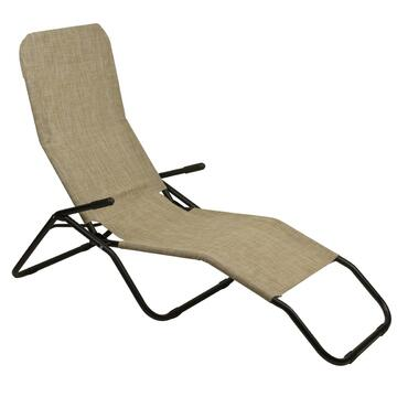 Sdraio da esterno Beach reclinabile beige struttura in metallo e seduta in tela