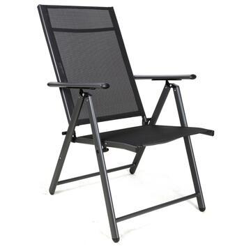 Poltrona Sdraio da esterno Bilbao nera struttura in alluminio e seduta in tela con schienale reclinabile