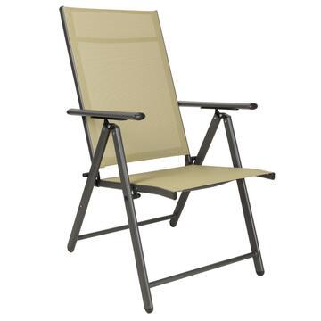 Poltrona Sdraio da esterno Bilbao beige struttura in alluminio e seduta in tela con schienale reclinabile