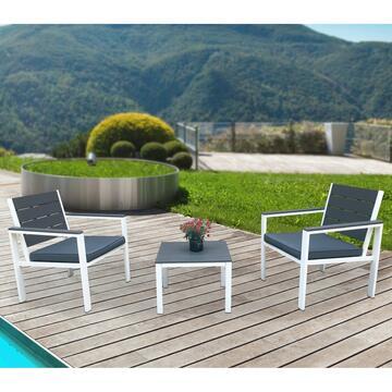 Salottino da esterno in metallo, rifiniture in plastica simil legno, 2 Poltrone  + Tavolino