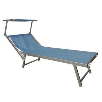 Lettino da mare blu cielo struttura solida in alluminio, seduta in tela con poggiatesta regolabile e comodo parasole