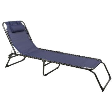 Lettino da esterno Espana blu struttura in alluminio e seduta in tela con un comodo cuscino poggiatesta regolabile