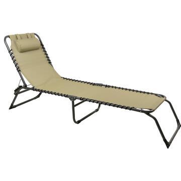 Lettino da esterno Espana beige struttura in alluminio e seduta in tela con un comodo cuscino poggiatesta regolabile