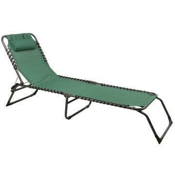 Lettino da esterno Espana verde struttura in alluminio e seduta in tela con un comodo cuscino poggiatesta regolabile